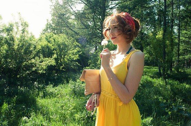 Robe printanière jaune