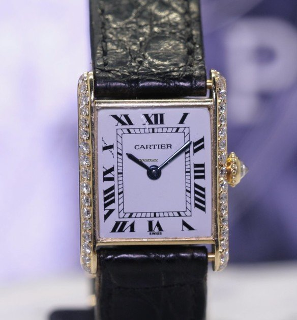 Cartier Tank Vintage Ladies 18K Gold Classique Diamonds Original Top