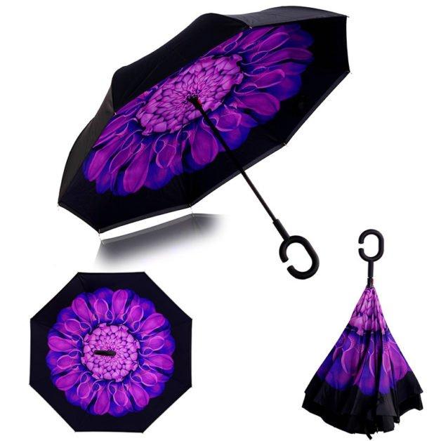 parapluie inversé violet
